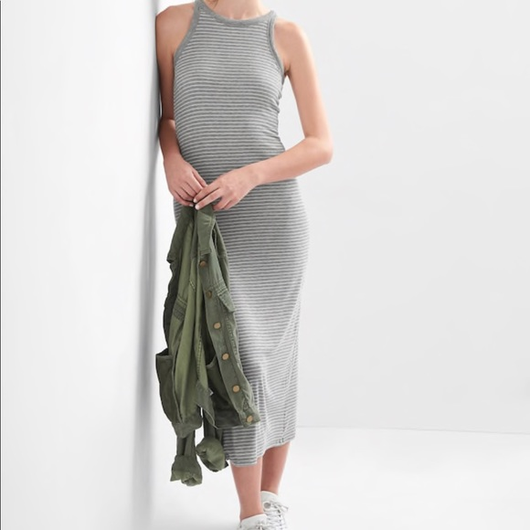 b3926020b02 GAP Dresses   Skirts - GAP Gray White Knit-Ribbed Racerback Maxi Dress